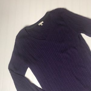 Long sleeve ribbed knit sweater